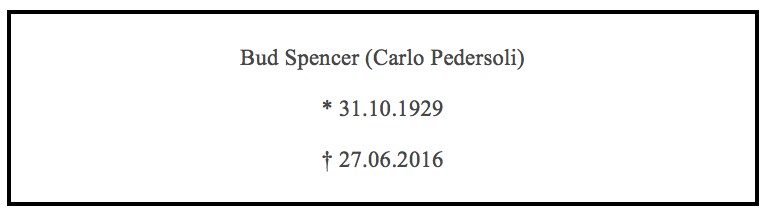 Bud Spencer ist tot